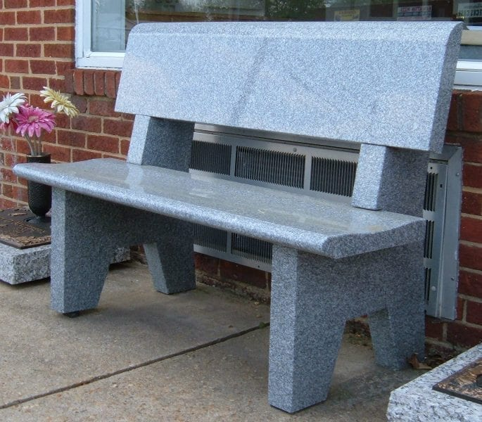 Carroll Memorials, Gray Polished Granite Memorial Bench with Back, 15